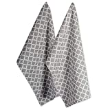 DII Cotton Lattice Dish Towels with Hanging Loop, 18 X 28' Set of 2, Fast Dry Kitchen Tea Towels for Everyday Cooking and Baking-Gray