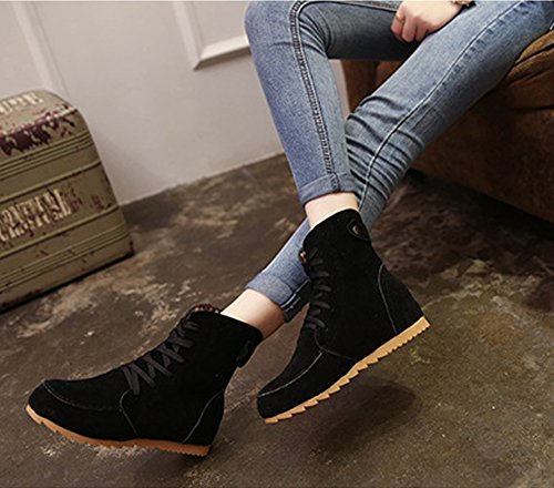 ... Maybest Femmes Automne Mode Décontractée Style Britannique Couleur Unie  Chaussures Plates Lacets Ancke Bout Rond Plat ...