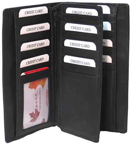 Genuine Lambskin Leather RFID Breast Wallet 30 CARDS PLUS 2 ID # 4116R US (Leather Breast Pocket Wallet)