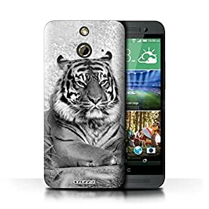 KOBALT? Protective Hard Back Phone Case / Cover for HTC One/1 E8 | Tiger Design | Mono Zoo Animals Collection