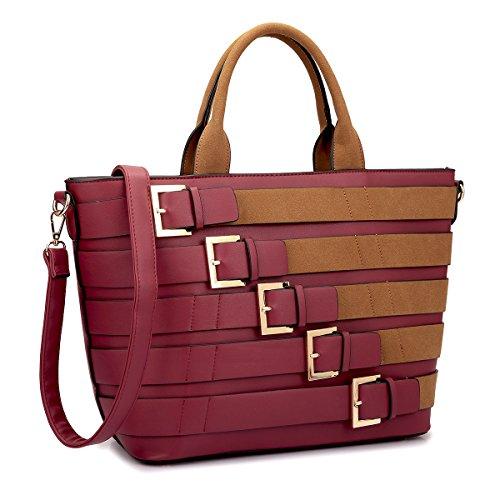Burgundy Designer - MKY Extra Large Tote Bag Designer Shoulder Handbag Buckle Details w/Removable Shoulder Strap Burgundy