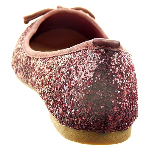 Sopily - Scarpe da Moda ballerina alla caviglia donna papillon paillette Tacco a blocco tacco alto 1 CM - Rosso