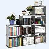Pesters Waterproof 4-Tier Storage Cube Closet Organizer Shelf, 9-cube DIY Adjustable Cabinet Bookcase Kids Office Bookshelf Closet Shelf Home Furniture Storage (US STOCK) (Grey)