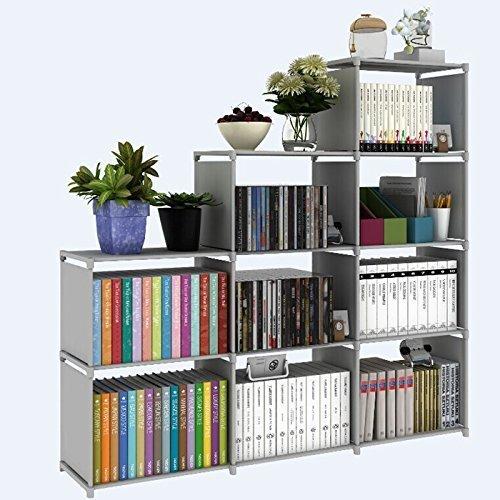 Pesters Waterproof 4-Tier Storage Cube Closet Organizer Shelf, 9-cube DIY Adjustable Cabinet Bookcase Kids Office Bookshelf Closet Shelf Home Furniture Storage (US STOCK) (Grey) by Pesters