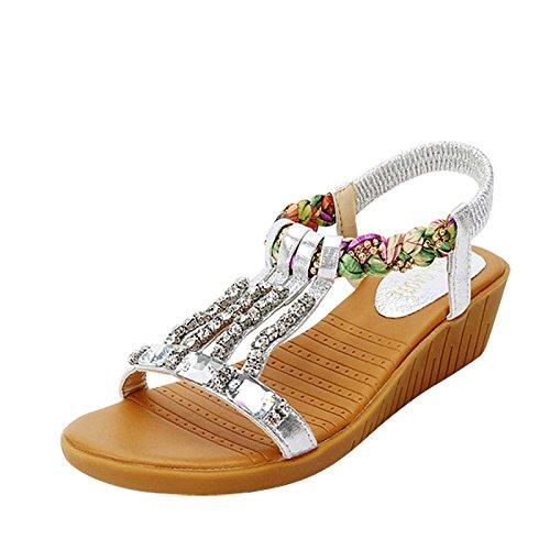 Moda Mujer verano sandalias confortables tacones altos,37 blanco Silver