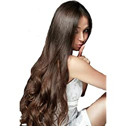 "TRESSMATCH 20""-22"" Remy Human Hair Clip in Extensions Dark Brown (color #2) 9 Pieces Thick to Ends Full Head Set [4.4oz/125grams] …"