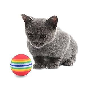 10pcs Juguete suave espuma gato bola arco iris Color pelota de gatitos y actividad Chase Play juguete mejor regalo: Amazon.es: Productos para mascotas