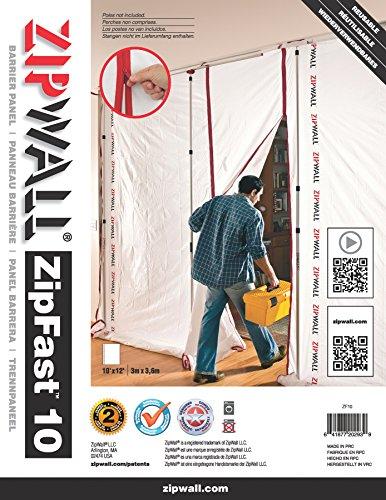 (ZipWall ZipFast Reusable Barrier 10' Panel for Dust Barriers, SF10)
