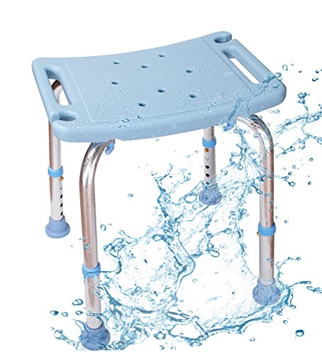 Shower Chair with Non-Slip Seat,Shower Bench Bath Chair Adjustable Height, Lightweight Shower Bench for Adults (White) (Bath Heights Light)