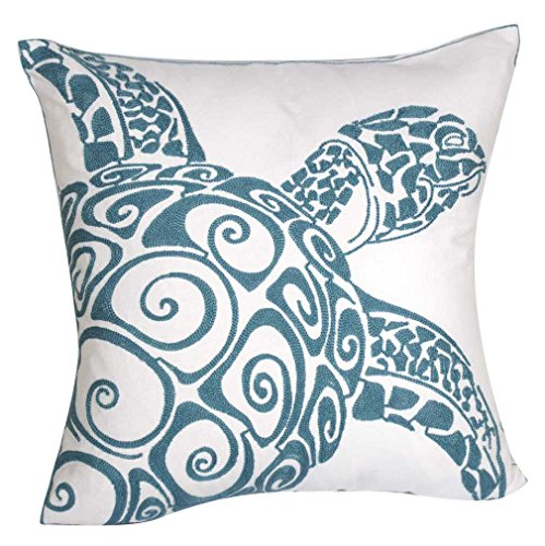 - DECOPOW Embroidered Cute Nautical Animal Pillow Covers,Square 18 inch Decorative Canvas Pillow Cover for Nautical Style Deco by (Seagreen-Sea Turtle)