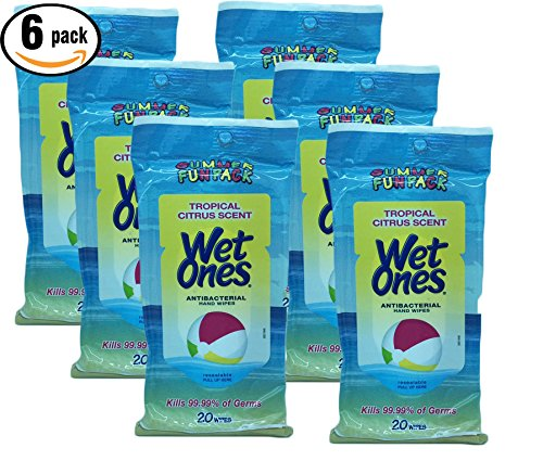 Tropical Citrus Scent Antibacterial Hand Wipes, Summer Fun Pack, 20 wipes in each package. (Mini Towelettes 20 Wipes)