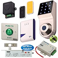 ZOTER Wireless Door Access Control Code Password Keypad Doorbell Remote Control Electric Deadbolt Lock NC Mode Security System Kit for Home Office
