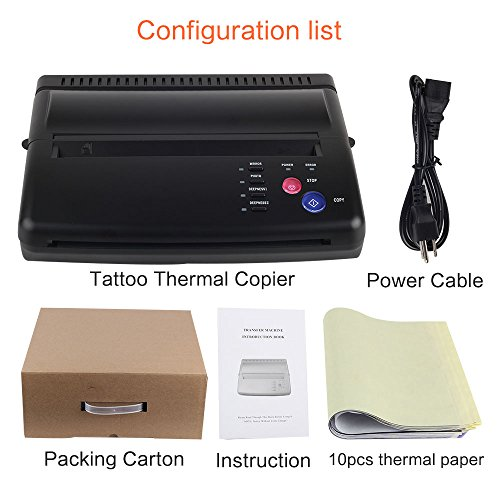 (Black Tattoo Transfer Stencil Machine Thermal Copier Printer with 10 pcs transfer Papers)