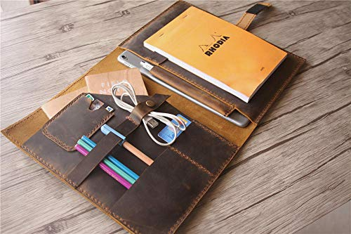 (Embossed Leather organizer Portfolio Folder Handmade Womens Padfolio Planner Case Tablet Pen Holder)