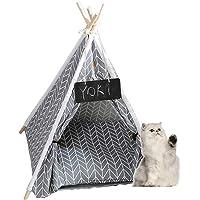 Cama de tienda de campaña para interior para mascotas y gatos, portátil, con cojín para cachorros, perros y gatos…
