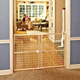 """""""Quick-Fit Wire Mesh Gate"""" by North States: Hassle-free rachet system ensures a quick custom fit - Ideal tall entries. Pressure mount. Fits openings 29.5"""" to 50"""" wide (32"""" tall, Natural wood)"""