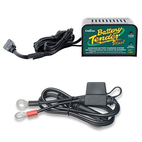 Deltran Battery Tender (021-0128) 1.25 Amp Battery Charger with 6 Ring Terminal Harness