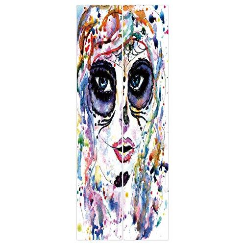 3d Door Wall Mural Wallpaper Stickers [ Sugar Skull Decor,Halloween Girl with Sugar Skull Makeup Watercolor Painting Style Creepy Decorative,Multicolor ] Mural Door Wall Stickers Wallpaper Mural DIY H ()