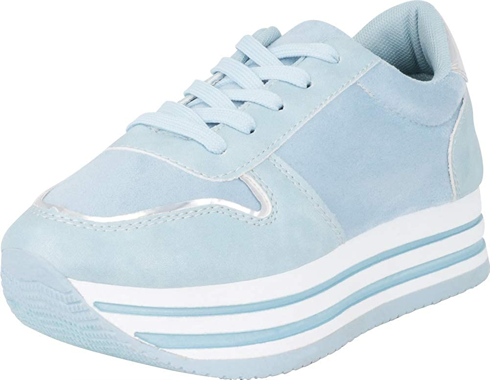 bluee Cambridge Select Women's Low Top Retro 90s Lace-Up Chunky Stripe Flatform Platform Fashion Sneaker