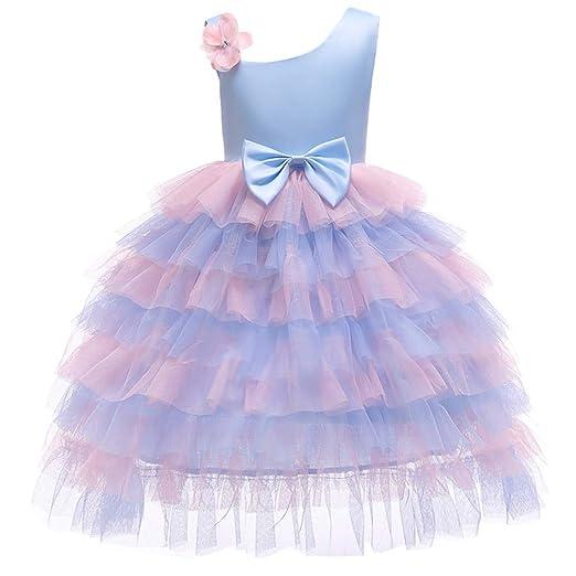 QZ Vestido Floral para niña Vestido Elegante para el Vestido ...