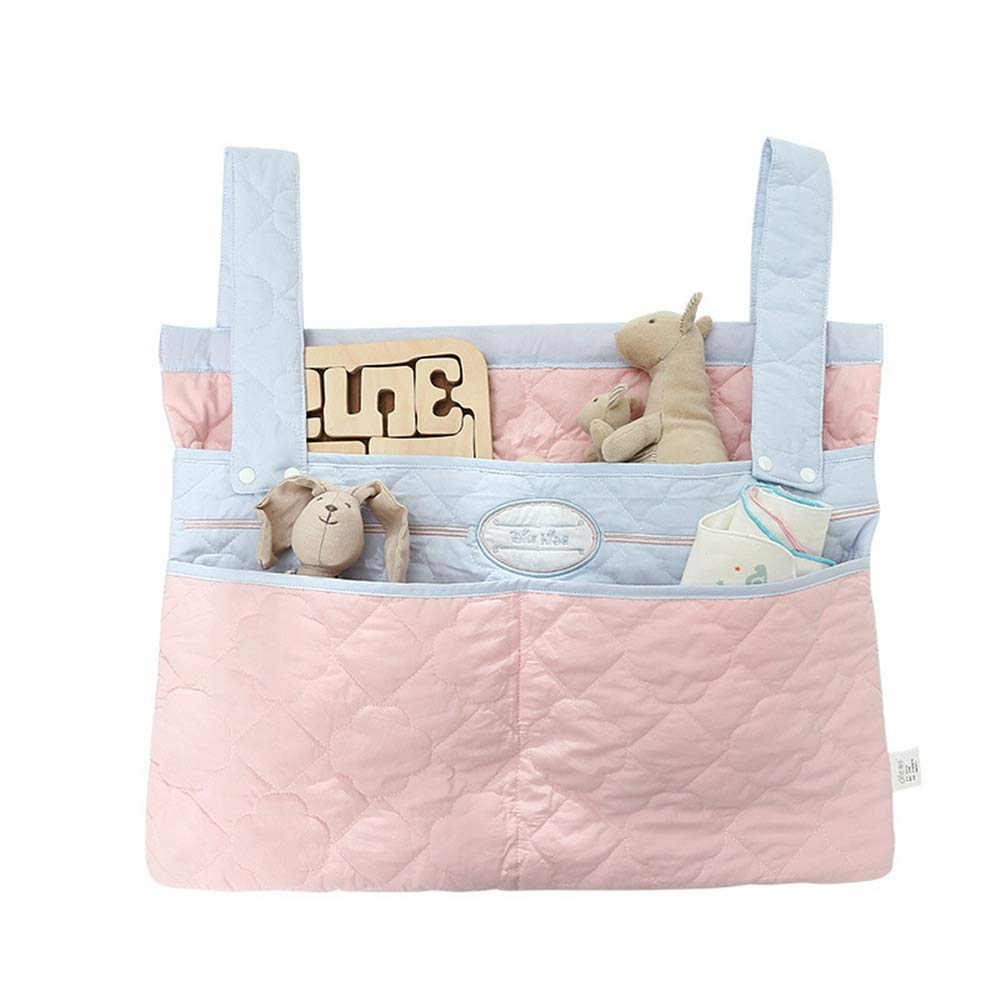 Jdeepued Crib Hanging Bag Baby Diaper Hanging Organizer, Toddler Bed Toy Organizer Hanging Bag Pink Crib Storage Bag (Color : Picture Color, Size : 57X43CM) by Jdeepued