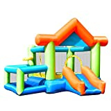 GYMAX Kid Bouncy Castle Inflatable Jumper House Bouncer W/ Basketball & Hoop Indoor Outdoor Christmas Gift
