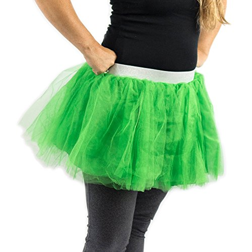 [Everfan Green Tutu, Princess, Ballerina Dance Tutu, Runner Skirt, Race Tutu - Medium] (Adult Tinkerbell Fairy Costumes)