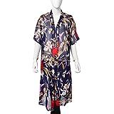 Navy 100% Polyester Flower Pattern Swimsuit Cover-ups Kimono For Women 23.6x43.3