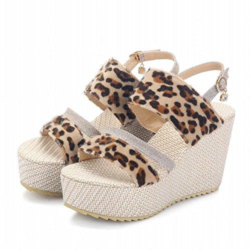 Charm Foot Womens Leopard Print Open Toe Wedges Platform Sandal Gold eIglb