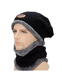 Thick Fleece Lined Slouch Beanie Hat Mens Winter Skull Cap Neck Gaiter Warmer