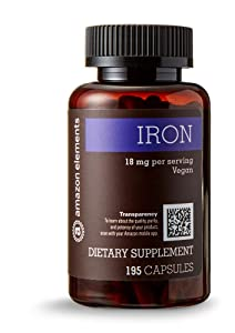Amazon Elements Iron 18mg, Vegan, 195 Capsules, 6 month supply