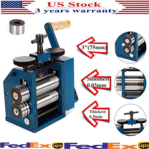 (Manual Combination Rolling Mill Machine, Jewelry Rolling Mill Press Tabletting Tool, Wire Flat Pattern Sheet Metal Jewelry Marking DIY Tools Equipment, Roll Presser 75mm for Jewelers & Craft-people)