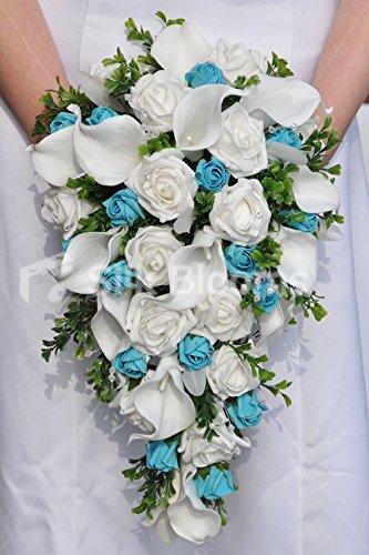 Bouquet Sposa Azzurro.Amazon Com Silk Blooms Ltd White And Aqua Rose Buds Wedding