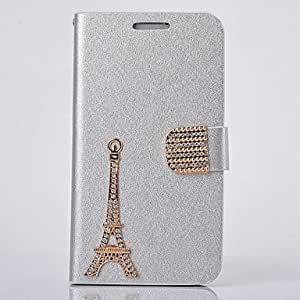 ZXC Fashion PU Leather Silk Print Diamond Full Body Case with Stand for Samsung Galaxy S4 I9500(Assorted Colors) , Silver