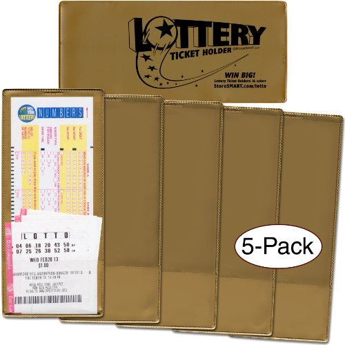 StoreSMART - Lotto Ticket Holders 5-Pack - Plastic - Go for the Gold Collection (LTGOLD)