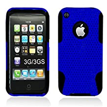 Aimo Wireless IPHONE3GSPCPA002 Hybrid Armor Cheeze Case for iPhone 3G/3GS - Retail Packaging - Black/Blue