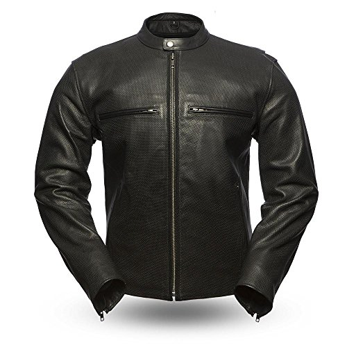 First Mfg Co Perforated naked cowhide Men's Turbine Leather Jacket Black Large