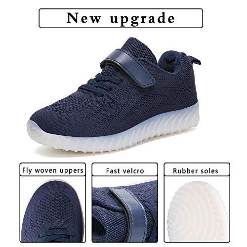ByBetty Led per Top Low Luminosi Carica Sneakers Unisex e Lampeggiante ragazzi USB Scarpe Blu Scuro Bambini bambini rPtIrqp