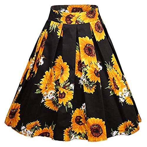 Landscap Women's Vintage A-line Floral High Waist Printed Pleated Flared Gown Midi Skirts(Yellow,M)