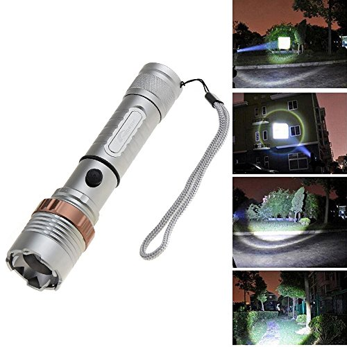Moobom 2000LM XM-L T6 LED Tactical Flashlight Lantern Rechargeable 5 Modes with Adjustable Focus