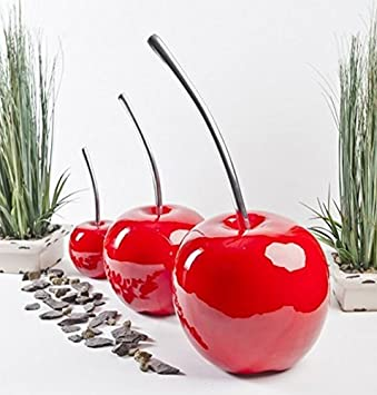 Set of 3 - Beautiful Contemporary Cherry Ornaments Indoor Outdoor ...