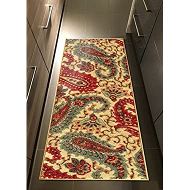 Custom Size Beige Multicolor Paisley Rubber Backed Non-Slip Hallway Stair Runner Rug Carpet 22 inch Wide Choose Your Length 22in X 8ft