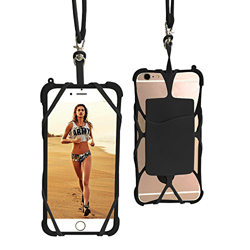 Price comparison product image AnsTOP 2 in 1 Universal 4'' to 6'' Silicone Holder Sling Lanyard Necklace Case With Detachable Wallet ID Card Slot for iPhone 7 7Plus 6S 6 Plus Samsung Galaxy S8 S8 Plus (Black)