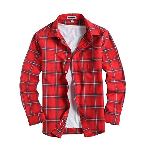 Mens Button Down Long-Sleeve Regular-Fit Plaid Flannel Casual Shirts(Large,Red)