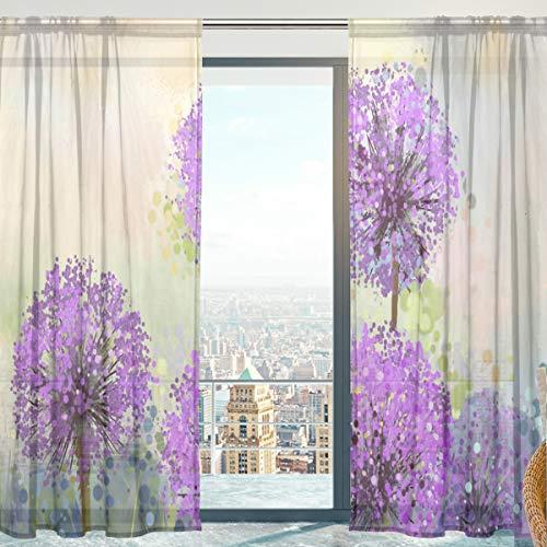 senya - Cortinas de Gasa para recámara, Sala de Estar, Flores de Cebolla moradas, 2 Paneles de 198 cm de Largo, Multicolor,...