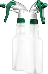 BAR5F Plastic Spray Bottles 16 oz | Commercial and Household Trigger Sprayer | HDPE Food Grade Bottle | BPA-Free (Pack of 2)