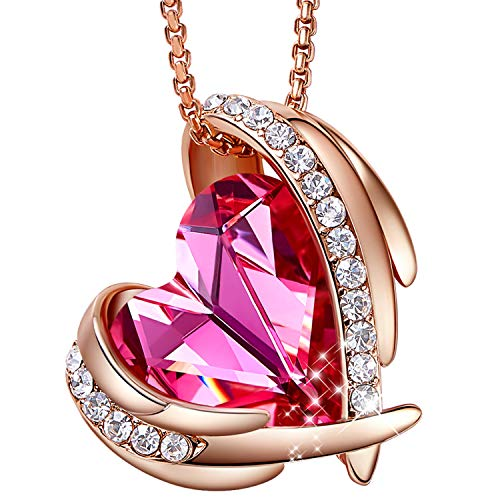 CDE Necklace for Women Girls Pink Angel 18K Rose Gold Pendant Heart of Ocean Heart-Shape Embellished with Crystals from Swarovski Jewelry Necklaces for Mom Gift for Mothers Day