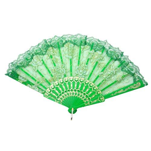 (TRENDBOX Elegant Vintage Retro Flower Rose Lace Handheld Chinese Folding Fan for Dancing Ball Parties Ladies - Grass Green)