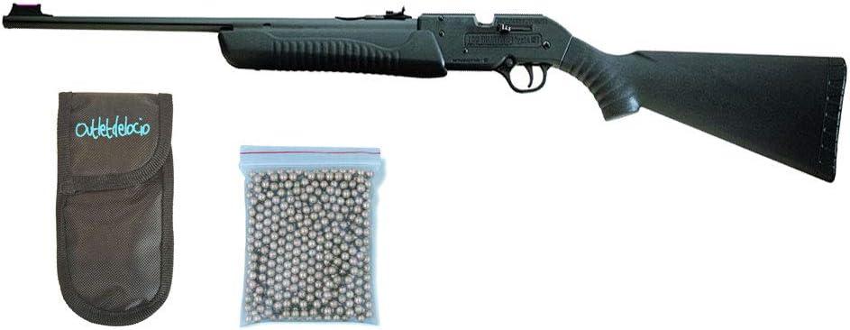 Outletdelocio. Carabina Perdigón Escopeta balines 4,5mm. + Funda Portabalines + Balines. 23054/38123