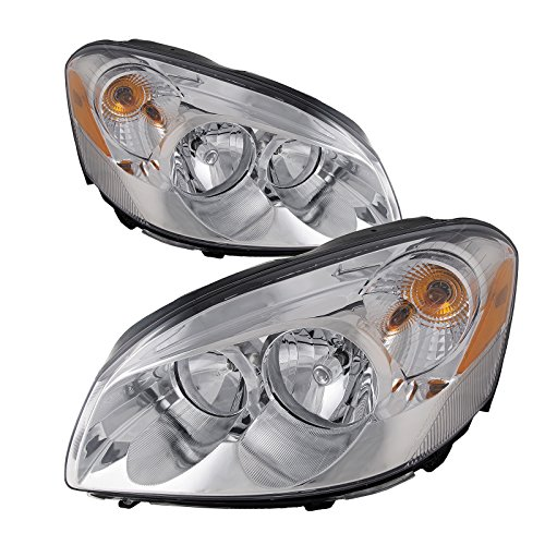 HEADLIGHTSDEPOT Chrome Housing Halogen Headlight Compatible with Buick Lucerne 2006-2009 Includes Left Driver and Right Passenger Side Headlamps (Buick Lucerne Headlight Assembly)